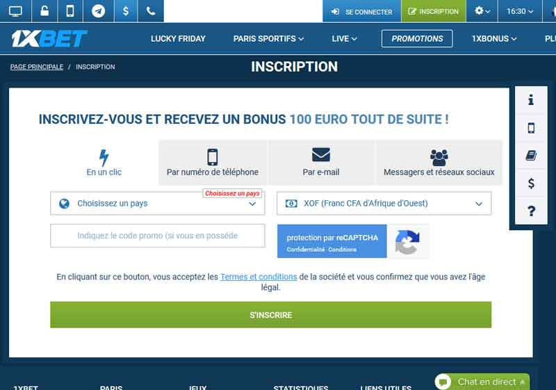 1xbet nscription en un clic