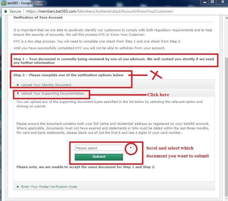 bet365 Vérification de documents