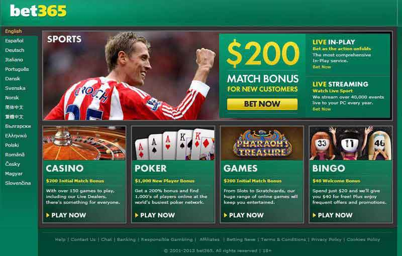 types de codes promo BET365